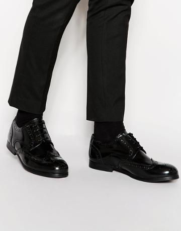 Shoe The Bear Leather Brogue Shoes - Black