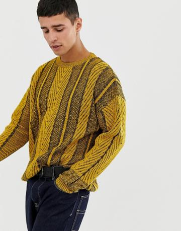 Collusion Cable Knit Sweater - Yellow
