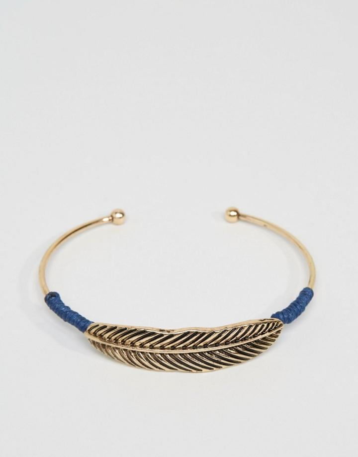 Asos Feather Bangle In Gold - Gold