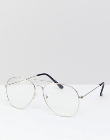 Reclaimed Vintage Inspired Aviator Clear Lens Glasses In Gold Exclusive To Asos - Gold
