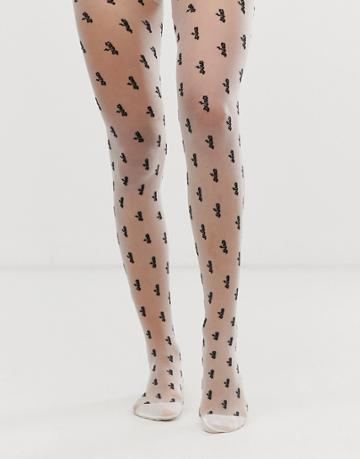 Asos Design Extra Slogan Tights - White