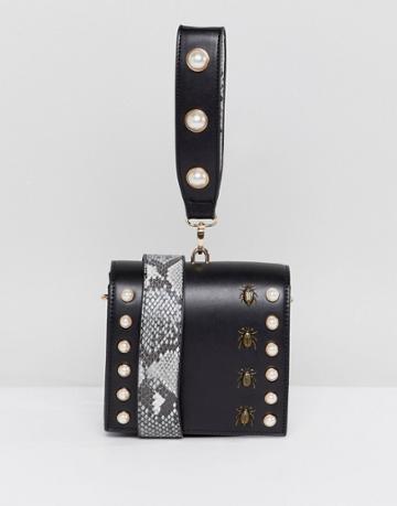 Asos Hero Bug And Pearl Grab Handle Cross Body Bag With Detachable Strap - Black