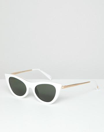 Le Specs Enchantress Cat Eye Sunglasses In White - White