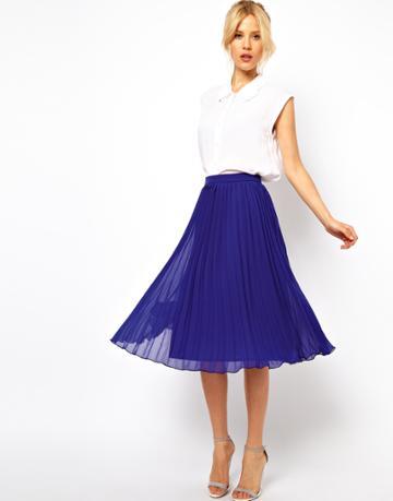 Asos Midi Skirt With Pleats