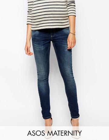 Asos Maternity Ridley Skinny Jean In Mid Wash With Over The Bump Waistband - Blue