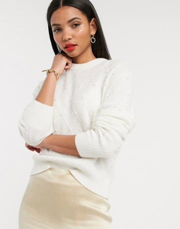 & Other Stories Pearl Embellished Round Neck Sweater In Off White-cream