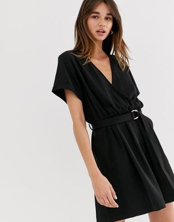 Weekday Belted Mini Wrap Dress In Black - Black