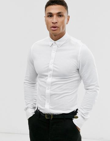 Only & Sons Pique Jersey Shirt In White - White