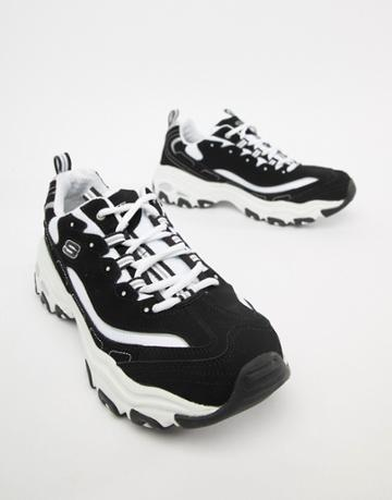 Skechers D'lites Sneakers In Black And White - Black
