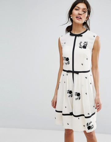 Ted Baker Bow Detail A Line Dress - Multi