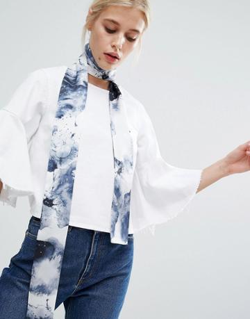 Asos Watercolour Skinny Scarf/headscarf - Multi