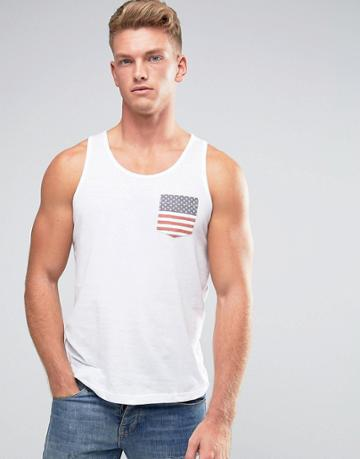 Brave Soul Usa Pocket Tank - White
