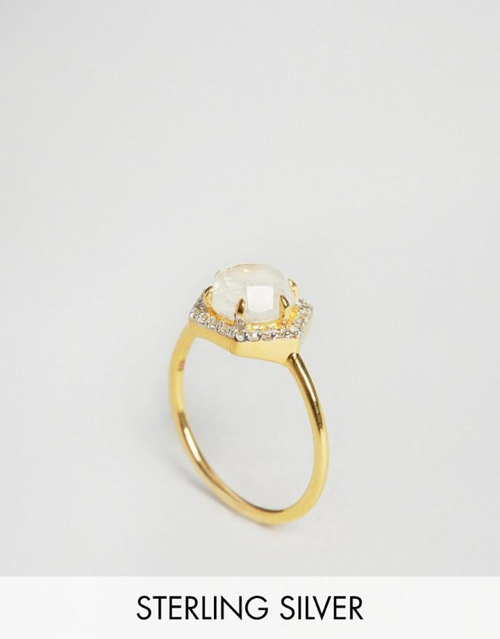 Carrie Elizabeth Hexagon Moonstone & Diamond Ring - Gold