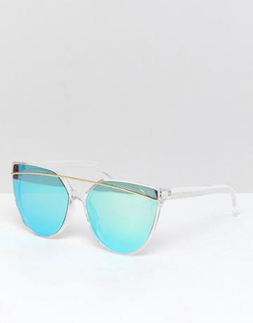 South Beach Blue Cat Eye Sunglasses With Brow Bar And Flash Lens - Blue