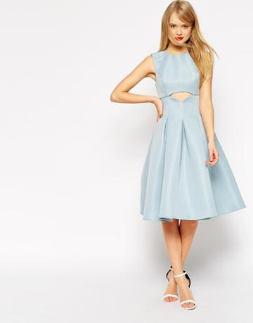 Asos Midi Dress With Cut Out Detail And Pleats - Blue