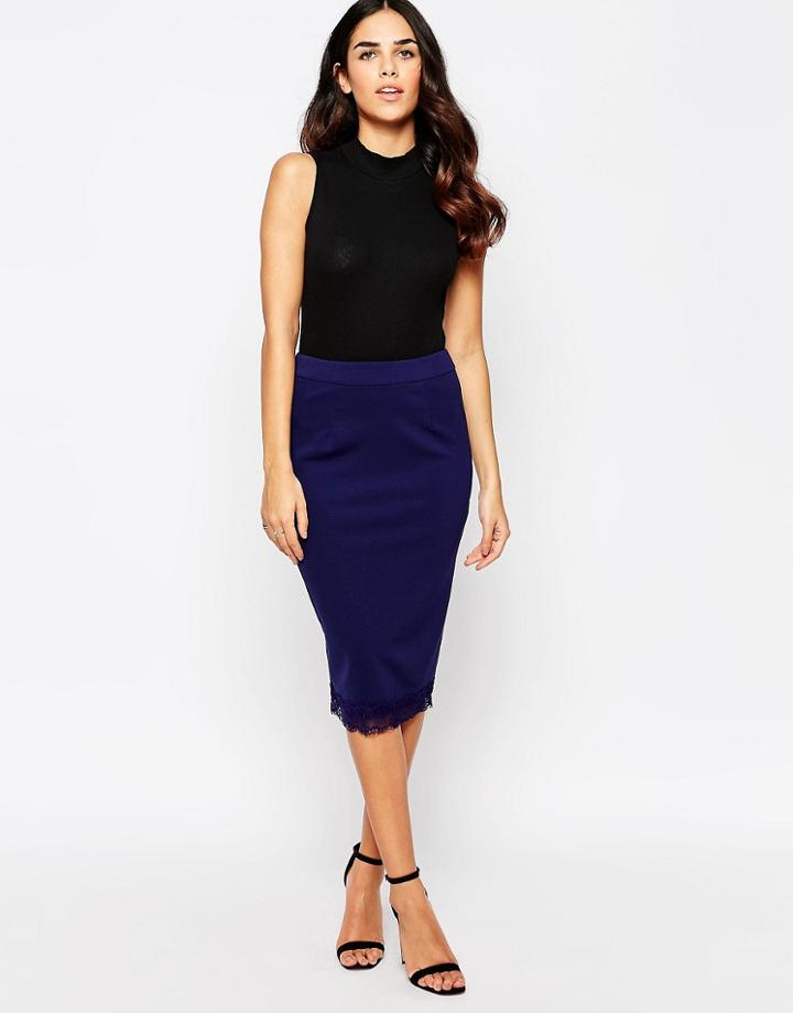 Little Mistress Midi Skirt - Navy
