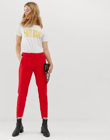 Selected Femme High Waisted Cigarette Pants With Pleat Detail - Red