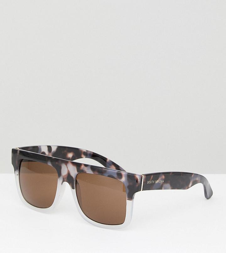 South Beach Flat Brow Sunglasses - Black