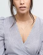Asos Design Fine Knot Multirow Necklace - Gold