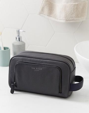 Ted Baker Miel Leather Toiletry Bag In Gray