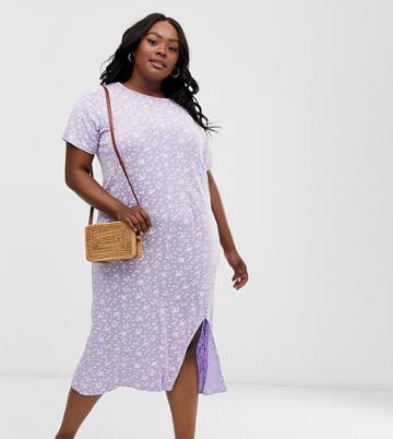 Daisy Street Plus Midi T-shirt Dress With Split In Ditsy Floral Print - Purple