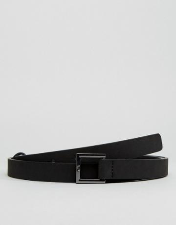 Asos Skinny Belt With Loop Back Fastening In Black Faux Leather - Black