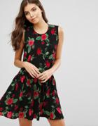 Ax Paris Floral Skater Dress - Black