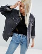 Asos Denim Girlfriend Jacket In Washed Ozzy Black - Black