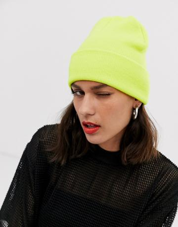 Monki Ribbed Beanie In Lime Green