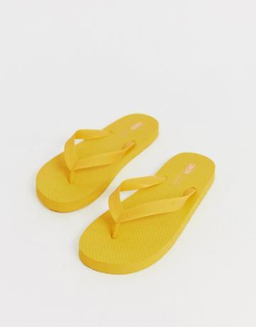Asos Design Filter Flip Flops In Yellow