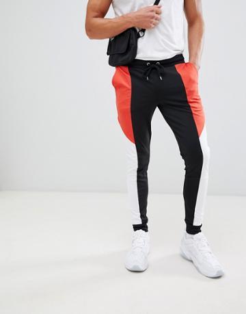 Asos Design Retro Track Super Skinny Joggers With Color Blocking - Black