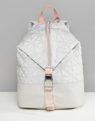 Fiorelli Sport Quilted Zip Detail Backpack In Gray - Gray