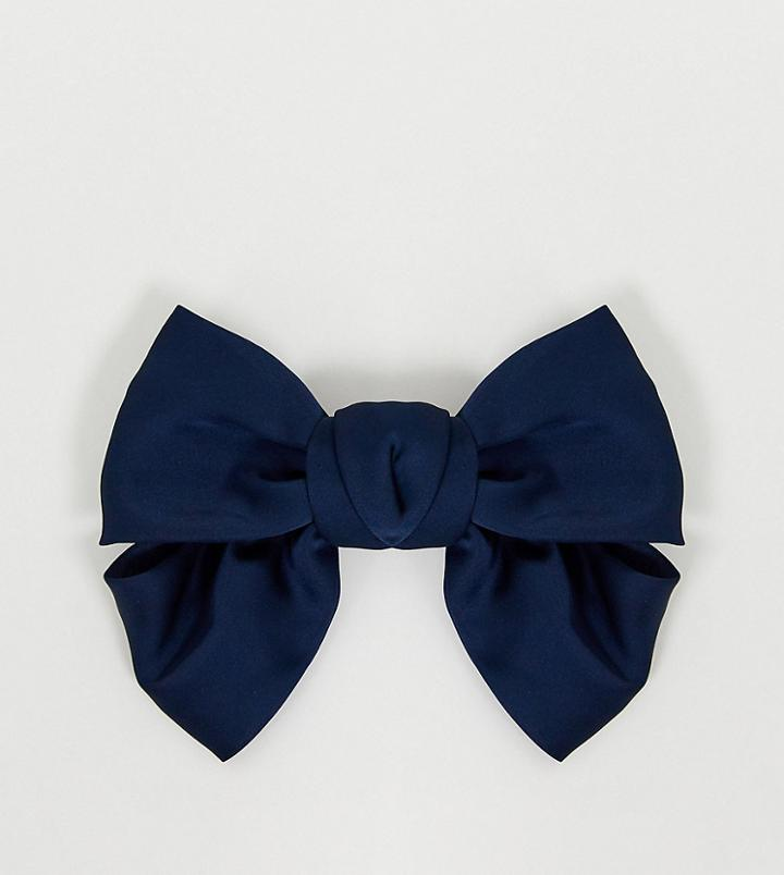 My Accessories London Exclusive Navy Satin Oversized Bow Hair Clip