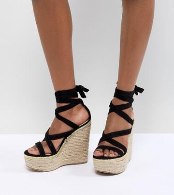 Asos Design Trophy Wide Fit Tie Leg High Wedges - Black