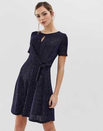 Oasis Glitter Skater Dress With Tie Side In Navy - Navy