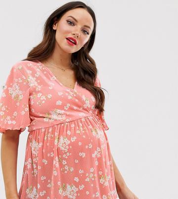 Asos Design Maternity Nursing Floral Plisse Wrap Top With Flutter Sleeve - Multi