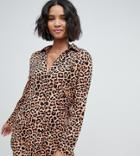 South Beach Oversized Beach Shirt In Leopard Print - Multi