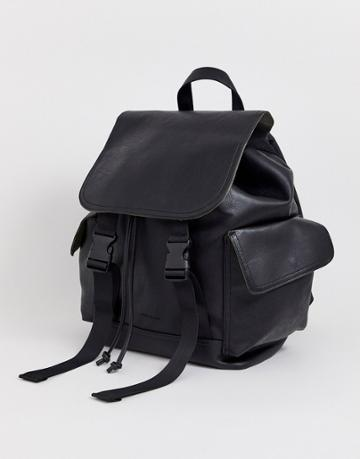 River Island Double Buckle Backpack In Black Pu