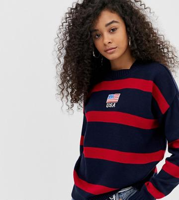 Daisy Street Sweater With Usa Embroidery In Contrast Stripe-black