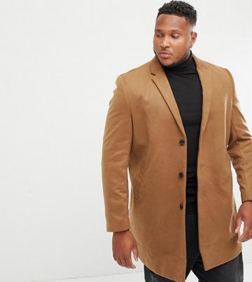 New Look Plus Overcoat In Camel - Tan