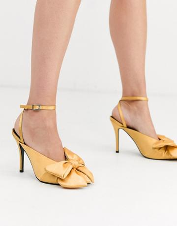 Asos Design Poetry Pointed High Heel Mules With Bow In Ochre Satin-yellow