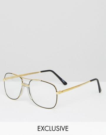 Reclaimed Vintage Aviator Glasses - Black