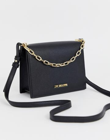 Love Moschino Structured Cross Body Bag In Black - Black