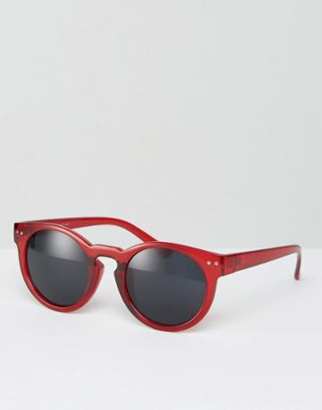 Asos Chunky Round Sunglasses In Crystal Burgundy - Red