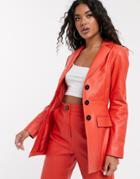 Asos Design Premium Leather Waisted Blazer-red