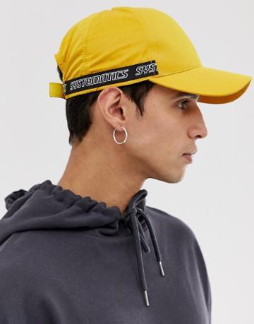 Asos Design Baseball Cap In Yellow Nylon With Taping - Yellow