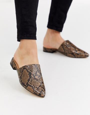 Truffle Collection Flat Pointed Mules In Snake