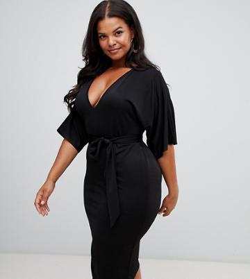 Prettylittlething Plus Tie Waist Plunge Midi Dress In Black - Black
