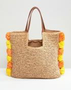 Chateau Pom Pom Trim Straw Beach Bag - Beige