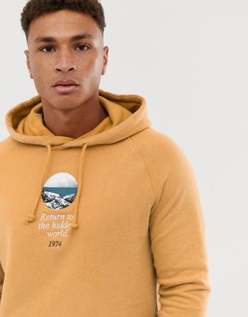 Pull & Bear Hoodie In Tan With World Embroidery - Tan
